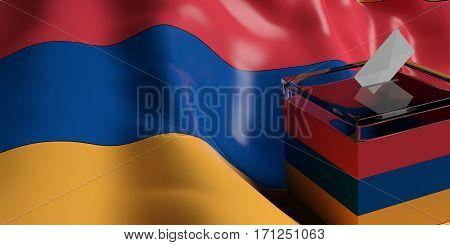 Ballot Box On Armenia Flag Background, 3D Illustration