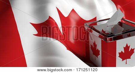Ballot Box On Canada Flag Background, 3D Illustration