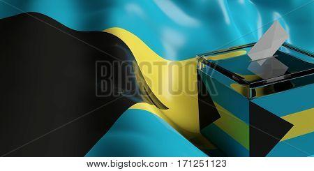 Ballot Box On Bahamas Flag Background, 3D Illustration
