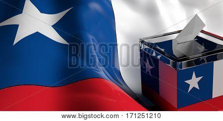 Ballot Box On Chile Flag Background, 3D Illustration