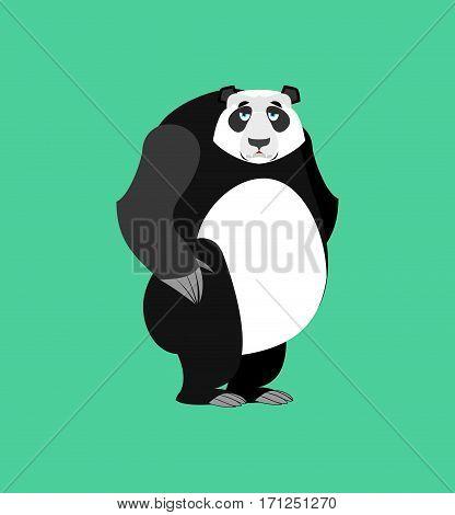 Panda Sad Emoji. Chinese Bear Sadness Emotion Isolated