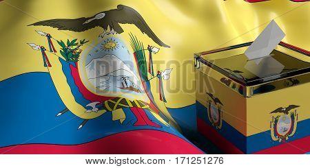 Ballot Box On Ecuador Flag Background, 3D Illustration