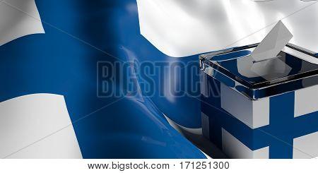 Ballot Box On Finland Flag Background, 3D Illustration