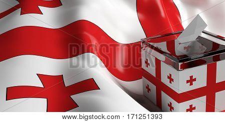 Ballot Box On Georgia Flag Background, 3D Illustration