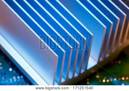 Close up of a chipset heatsink on motherboard