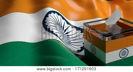 Ballot Box On India Flag Background, 3D Illustration