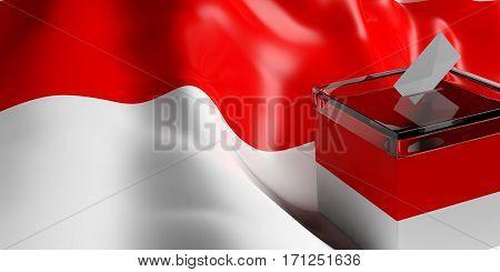 Ballot Box On Indonesia Flag Background, 3D Illustration