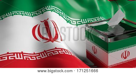 Ballot Box On Iran Flag Background, 3D Illustration