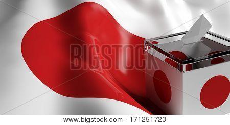 Ballot Box On Japan Flag Background, 3D Illustration