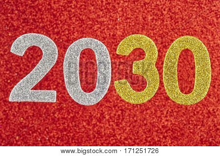 Number two thousand and thirty over a red background. Anniversary. Horizontal
