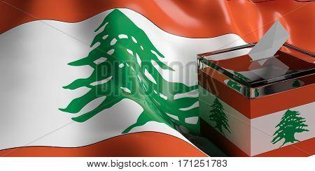 Ballot Box On Lebanon Flag Background, 3D Illustration