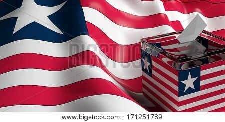 Ballot Box On Liberia Flag Background, 3D Illustration