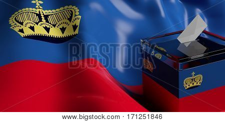 Ballot Box On Liechtenstein Flag Background, 3D Illustration