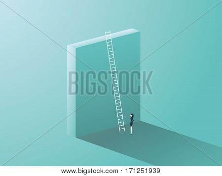 Business challenge concept with big wall and ladder. Businesswoman standing in front, symbol for career growth, finding creative solution. Eps10 vector illustration.