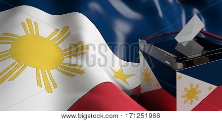 Ballot Box On Philippines Flag Background, 3D Illustration
