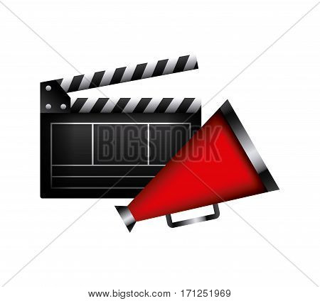 Clapboard and megaphone icon over white background. colorful design. vector illustration