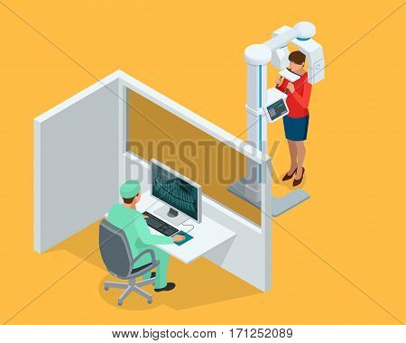 Isometric Detail Dental Panoramic Radiograph equipment, doctor and woman isolated on white
