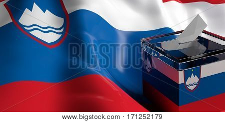 Ballot Box On Slovenia Flag Background, 3D Illustration