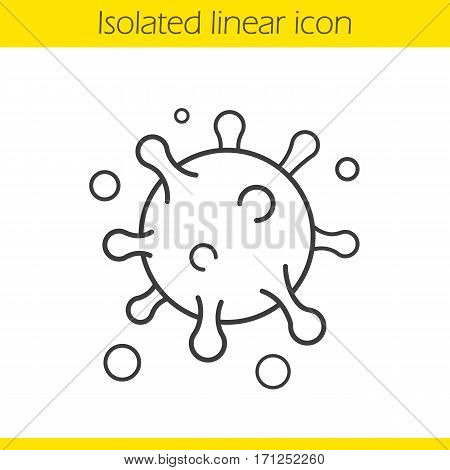 Virus cell linear icon. Bacterium thin line illustration. Round microorganism contour symbol. Vector isolated outline drawing