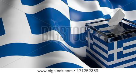 Ballot Box On Greece Flag Background, 3D Illustration