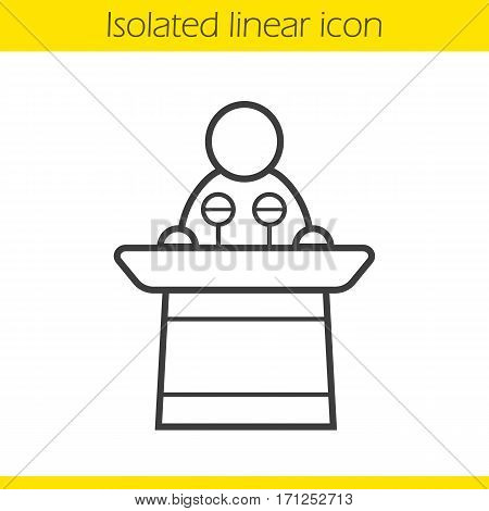 Politician linear icon. Orator speech thin line illustration. Speaker podium contour symbol. Presentation. Vector isolated outline drawing