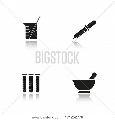 Chemical laboratory drop shadow black icons set. Lab tools. Test tubes, beaker with rod and liquid, mortar and pestle, pipette. Isolated vector illustrations