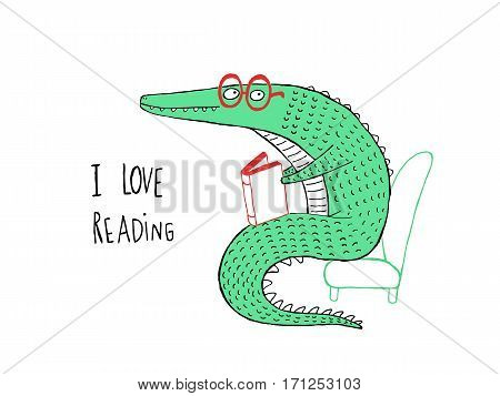 I Love Reading Crocodile reading a book hand drawn vector illustration