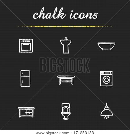 Kitchen and bathroom furniture chalk icons set. Electric stove, washstand, bath, fridge, classic table, washing machine, kitchen counter, toilet, ceiling lamp. Isolated vector chalkboard illustrations
