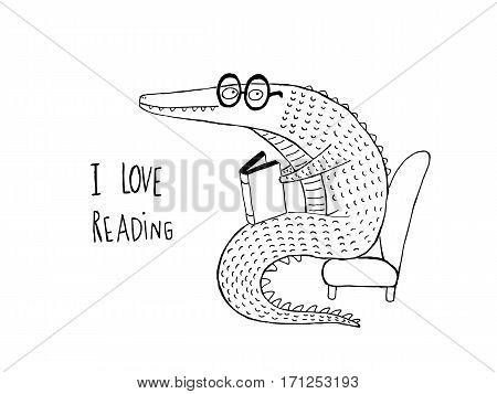 I Love Reading Crocodile reading a book black and white hand drawn vector illustration