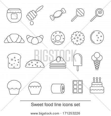 Dessert and sweet icon set. Collection dessert and sweet icons in thin line style.
