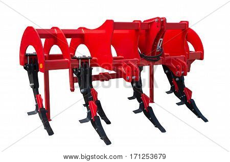 A subsoiler is a tractor mounted farm implement used for deep tillage, loosening and breaking up soil at depths below the levels worked by moldboard ploughs, disc harrows, or rototillers.