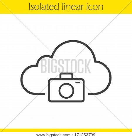 Photo hosting linear icon. Photo camera thin line illustration. Cloud computing contour symbol. Vector isolated outline drawing