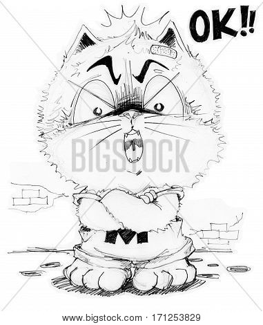 Cat cartoon he is boss and answer some one is OK Character pencil sketch design black and white.