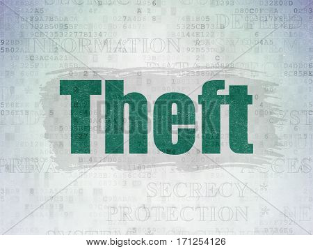 Security concept: Painted green text Theft on Digital Data Paper background with   Tag Cloud