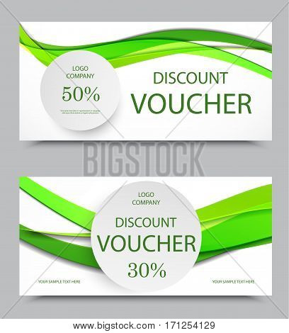 Gift company voucher template on fifty and thirty percent rates discount with gray circles and wavy green paper lines pattern. Vector illustration