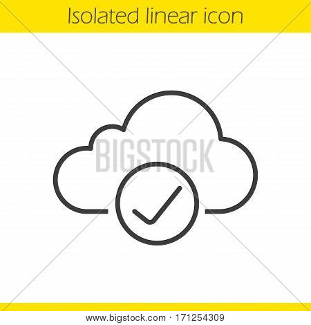 Cloud storage linear icon. Thin line illustration. Cloud computing check mark. Access granted contour symbol. Vector isolated outline drawing