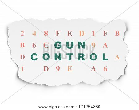 Privacy concept: Painted green text Gun Control on Torn Paper background with  Hexadecimal Code