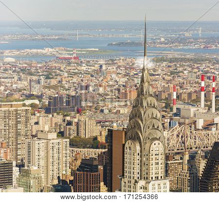 New York, USA, november 2016: New York Skyline with chrysler building in foreground in a sunny day