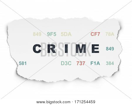 Safety concept: Painted black text Crime on Torn Paper background with  Hexadecimal Code