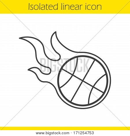 Burning basketball ball linear icon. Thin line illustration. Contour symbol. Vector isolated outline drawing