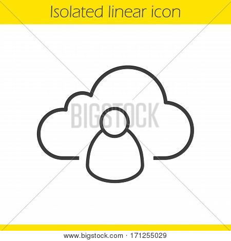 Cloud storage user linear icon. Thin line illustration. Personal data web hosting. Cloud computing contour symbol. Vector isolated outline drawing
