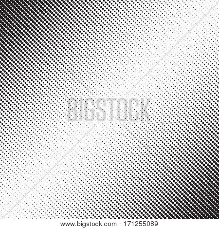 Dots halftone pattern with gradient effect. Diagonal points. Diagonally directed spots. Template for backgrounds and stylized textures. Design element. Vector illustration in EPS8 format.