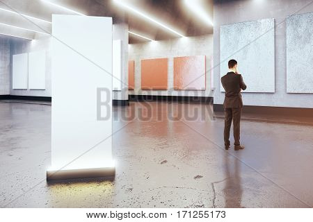 Thoughtful Man And Blank Poster