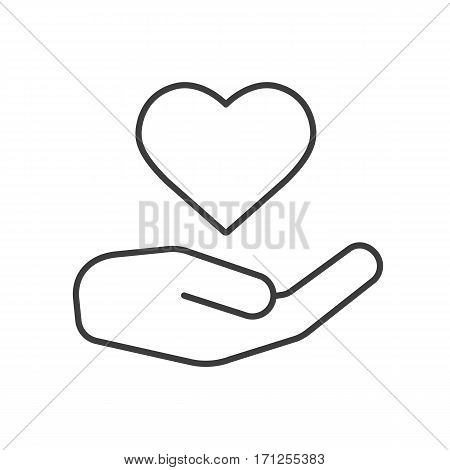 Charity linear icon. Thin line illustration. Heart care. Valentine's Day contour symbol. Vector isolated outline drawing