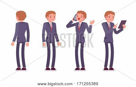 Set of young happy businessmen in formal wear, standing poses, talking on phone, holding tablet, launching a new business, company, full length, front and rear view, isolated against white background