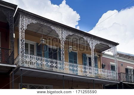 Detail of a balcony in a building in the French Quarter in New Orleans Louisiana USA