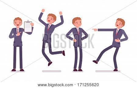 Set of young businessman showing positive emotions, successful, jumping with joy, pointing to a clipboard, laughing, feeling happy and enthusiastic, full length, front view isolated, white background