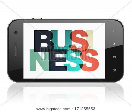 Finance concept: Smartphone with Painted multicolor text Business on display, 3D rendering