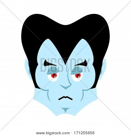 Dracula Sad Emoji. Vampire Sorrowful Emotion Face Isolated