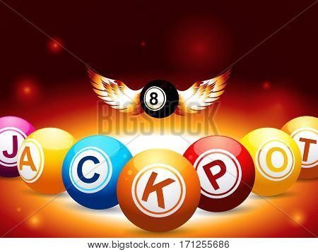Bingo Lottery Balls with Letters Composing Jackpot Word and Number 8 Black Ball with Wings Over Glowing Background